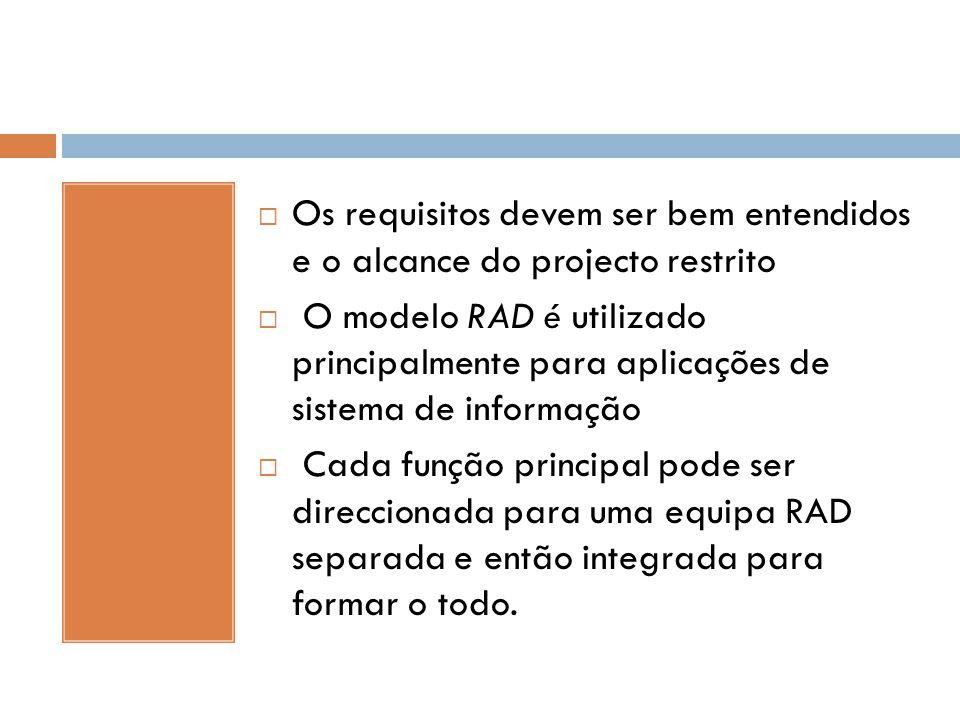 Os requisitos devem ser bem entendidos e o alcance do projecto restrito