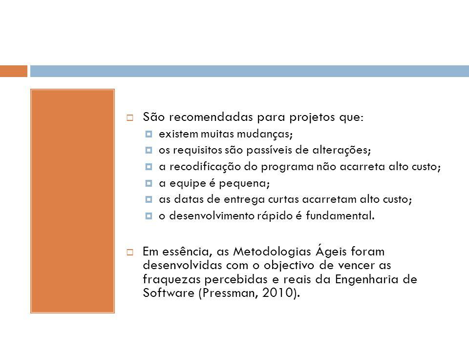 São recomendadas para projetos que:
