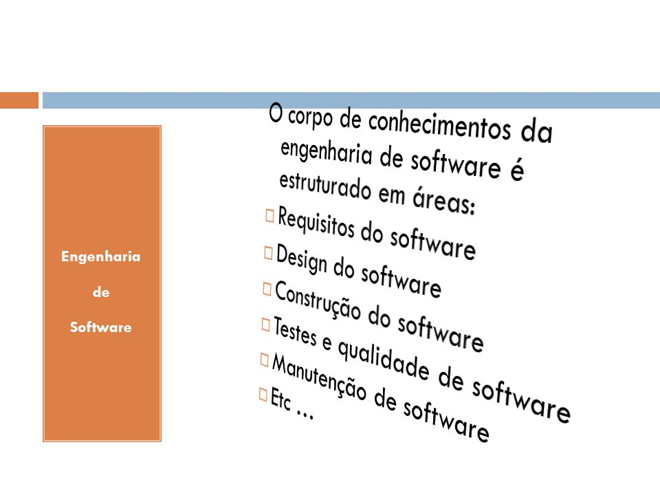 Requisitos do software Design do software Construção do software