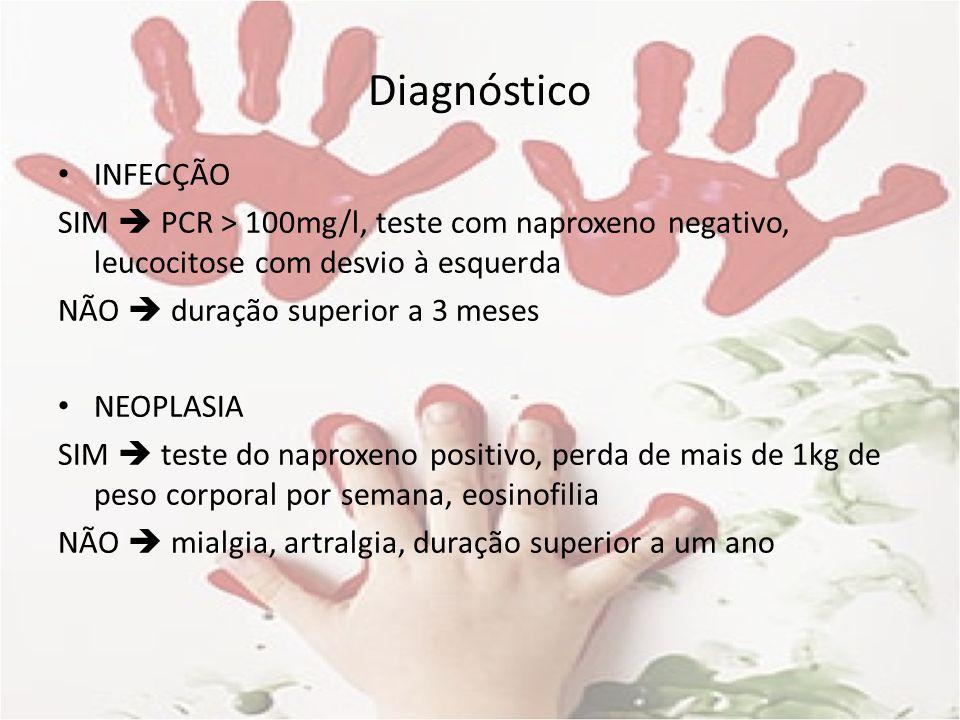 Diagnóstico INFECÇÃO. SIM  PCR > 100mg/l, teste com naproxeno negativo, leucocitose com desvio à esquerda.