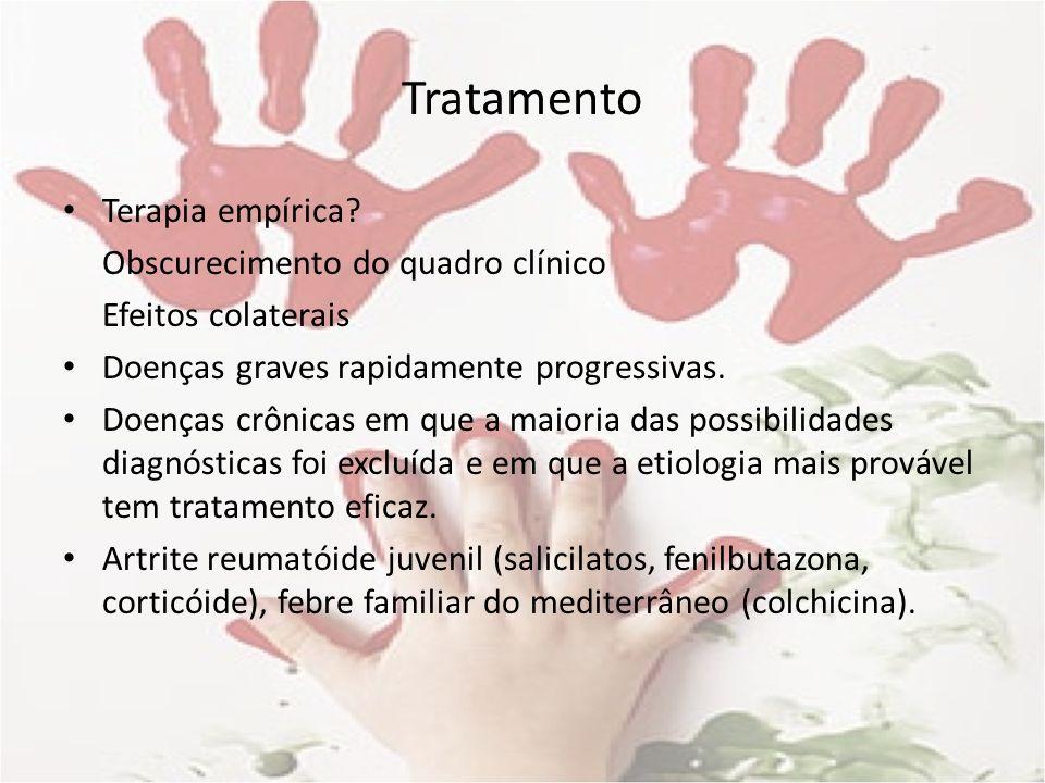 Tratamento Terapia empírica Obscurecimento do quadro clínico