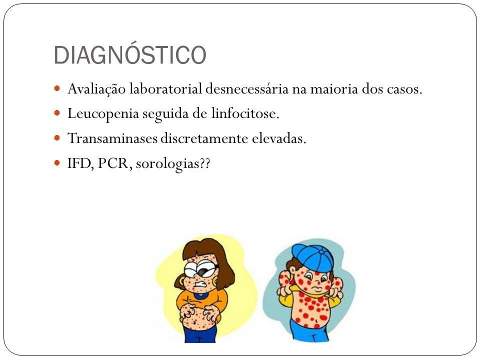 DIAGNÓSTICO Avaliação laboratorial desnecessária na maioria dos casos.