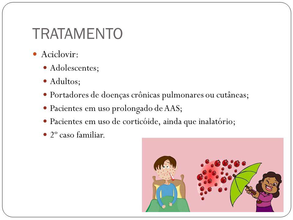 TRATAMENTO Aciclovir: Adolescentes; Adultos;