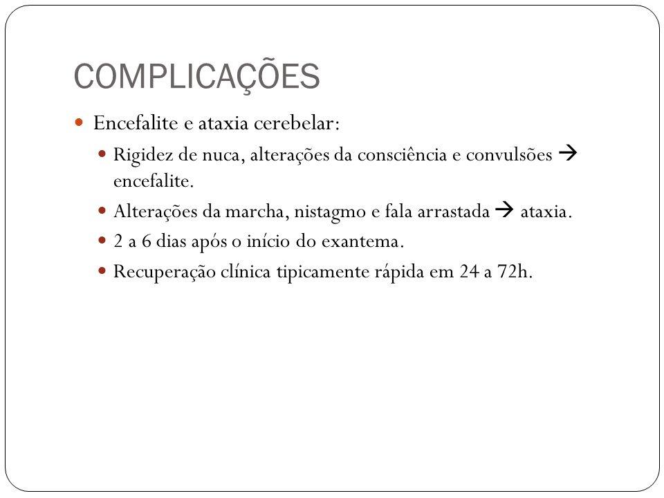 COMPLICAÇÕES Encefalite e ataxia cerebelar: