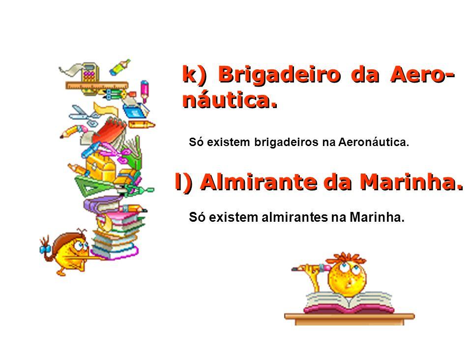 k) Brigadeiro da Aero- náutica.