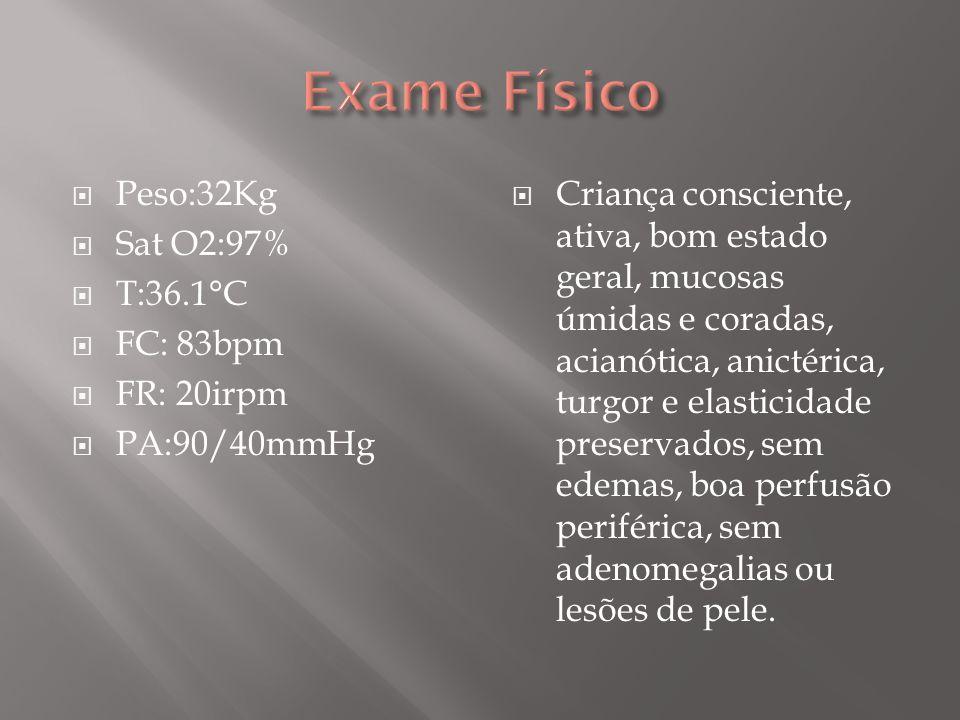 Exame Físico Peso:32Kg Sat O2:97% T:36.1°C FC: 83bpm FR: 20irpm