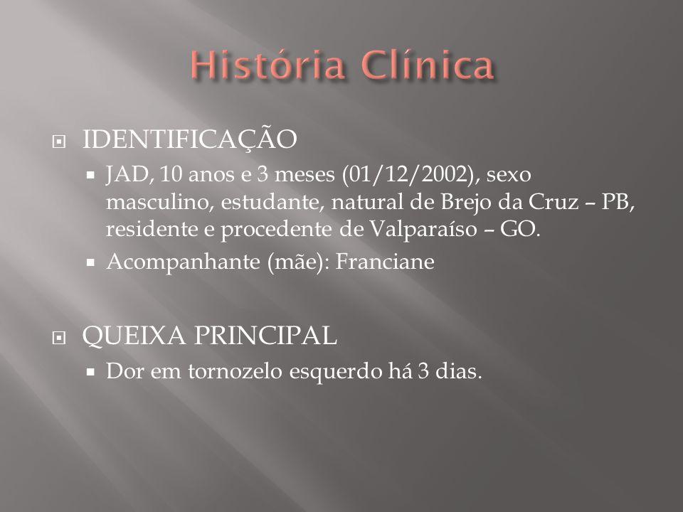 História Clínica IDENTIFICAÇÃO QUEIXA PRINCIPAL