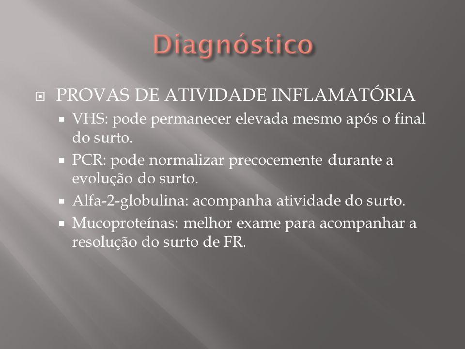 Diagnóstico PROVAS DE ATIVIDADE INFLAMATÓRIA
