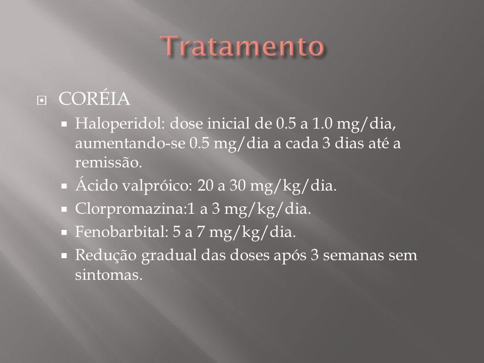 Tratamento CORÉIA. Haloperidol: dose inicial de 0.5 a 1.0 mg/dia, aumentando-se 0.5 mg/dia a cada 3 dias até a remissão.