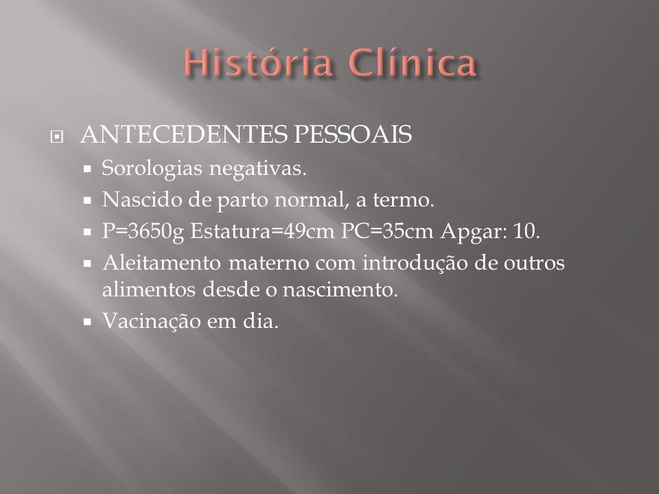História Clínica ANTECEDENTES PESSOAIS Sorologias negativas.