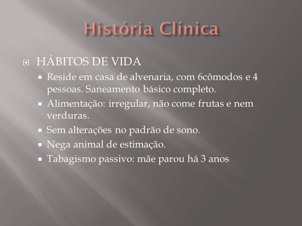 História Clínica HÁBITOS DE VIDA