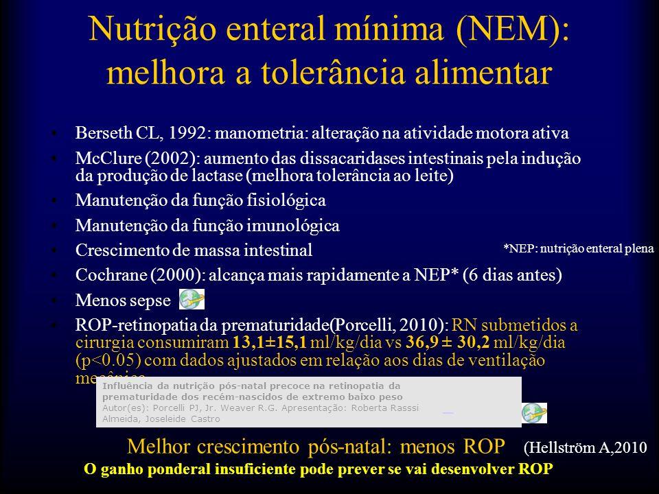 Nutrição enteral mínima (NEM): melhora a tolerância alimentar