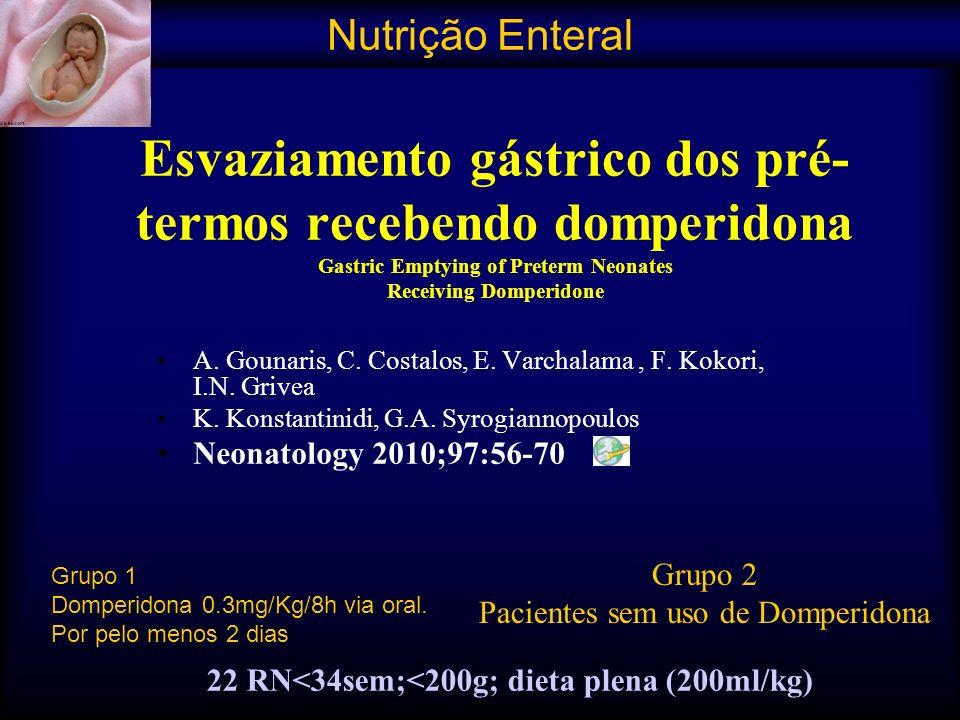 22 RN<34sem;<200g; dieta plena (200ml/kg)