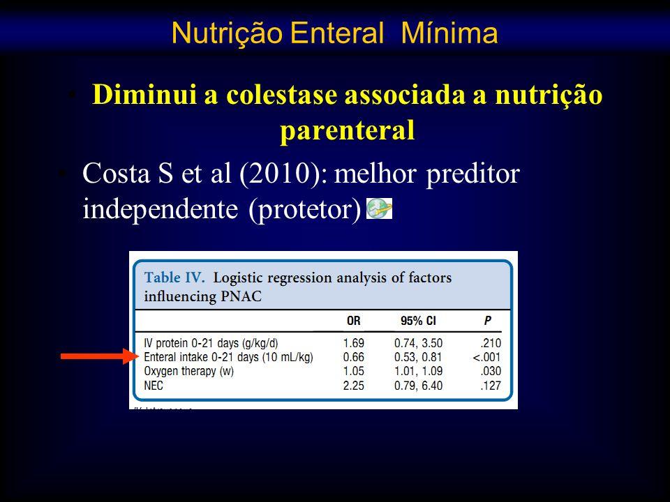 Diminui a colestase associada a nutrição parenteral