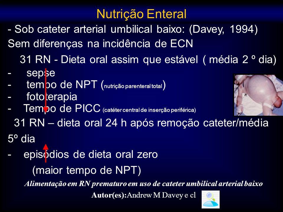Alimentação em RN prematuro em uso de cateter umbilical arterial baixo