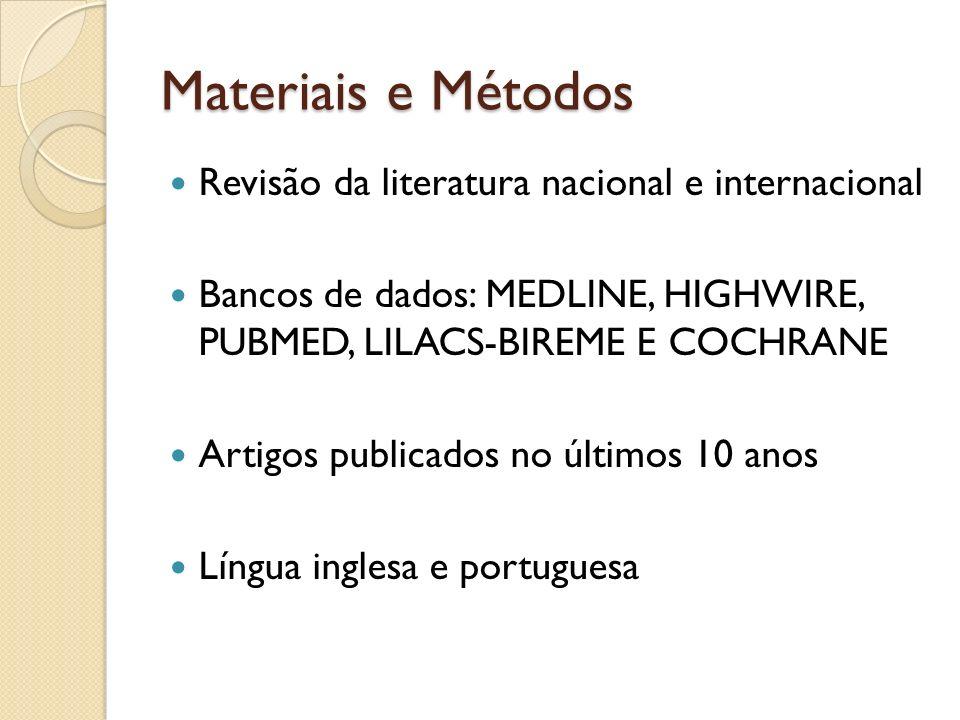 Materiais e Métodos Revisão da literatura nacional e internacional