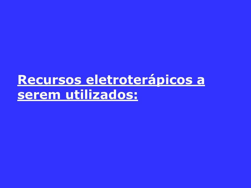 Recursos eletroterápicos a serem utilizados: