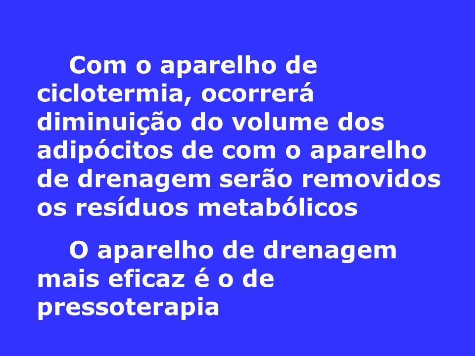 Com o aparelho de ciclotermia, ocorrerá diminuição do volume dos adipócitos de com o aparelho de drenagem serão removidos os resíduos metabólicos