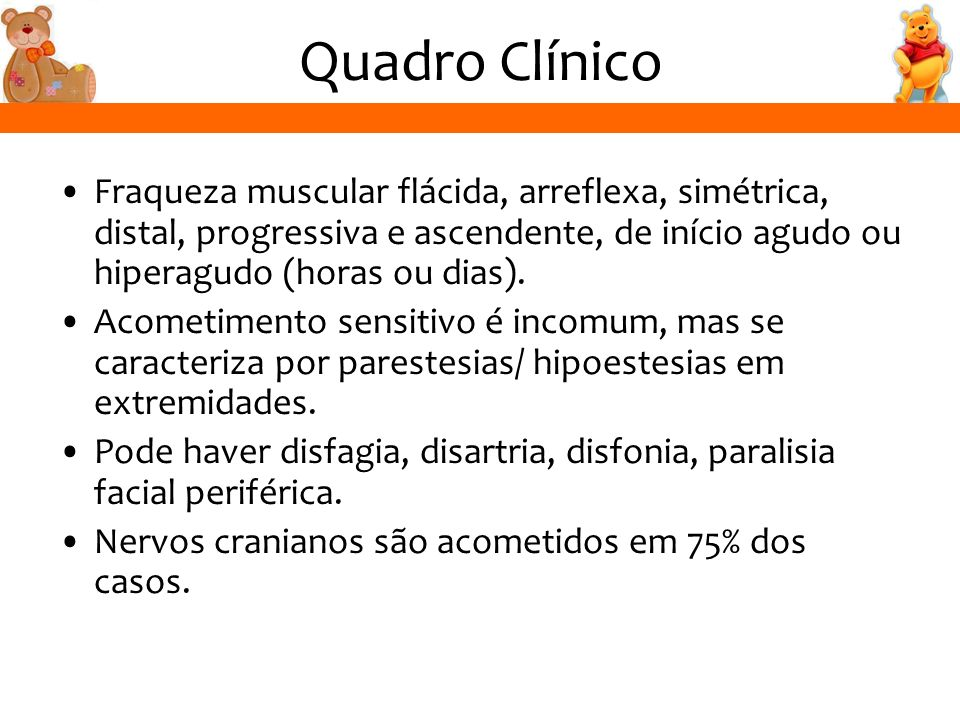 Quadro Clínico Fraqueza muscular flácida, arreflexa, simétrica, distal, progressiva e ascendente, de início agudo ou hiperagudo (horas ou dias).