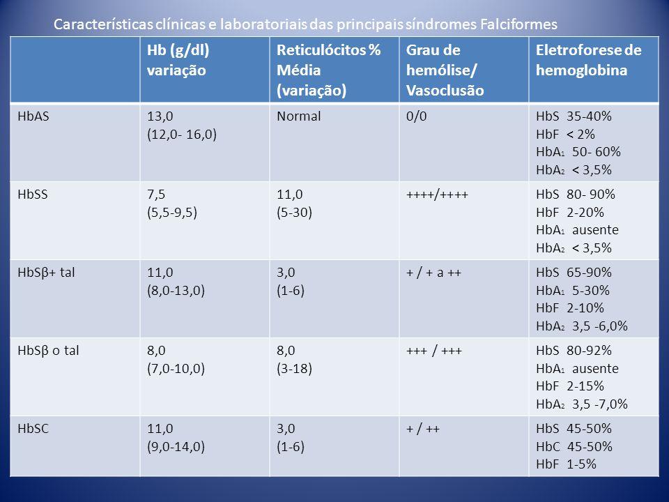 Características clínicas e laboratoriais das principais síndromes Falciformes