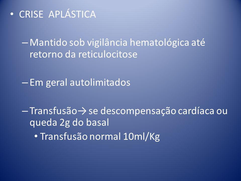 CRISE APLÁSTICA Mantido sob vigilância hematológica até retorno da reticulocitose. Em geral autolimitados.