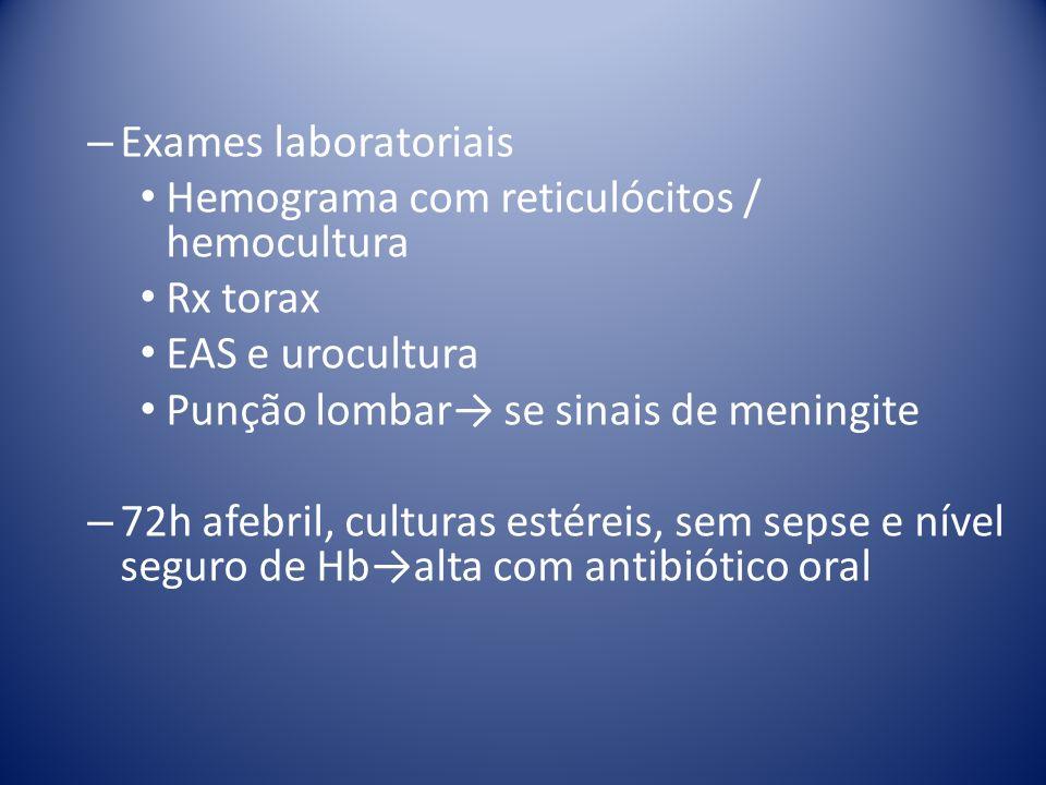 Exames laboratoriais Hemograma com reticulócitos / hemocultura. Rx torax. EAS e urocultura. Punção lombar→ se sinais de meningite.