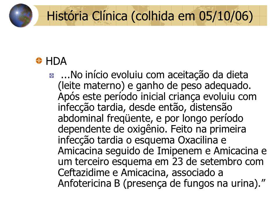 História Clínica (colhida em 05/10/06)
