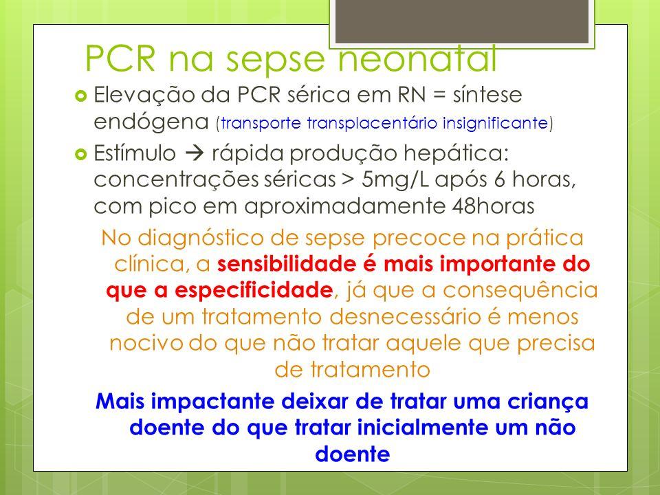 PCR na sepse neonatal Elevação da PCR sérica em RN = síntese endógena (transporte transplacentário insignificante)