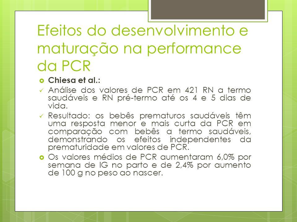 Efeitos do desenvolvimento e maturação na performance da PCR