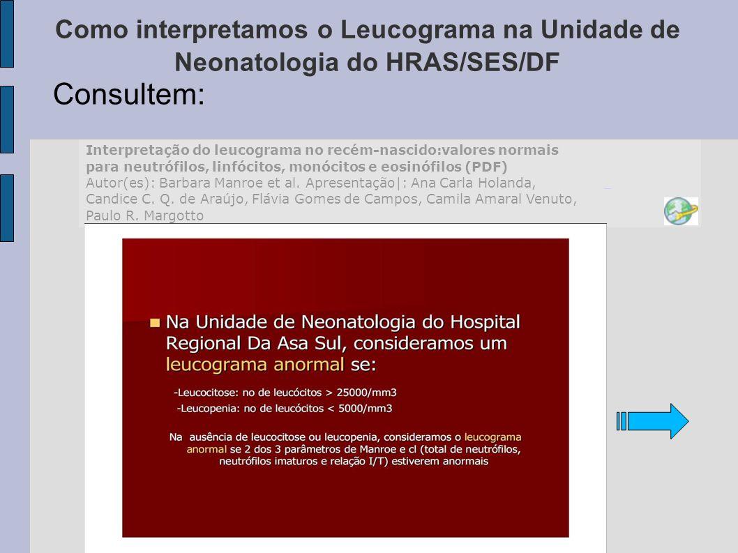 Como interpretamos o Leucograma na Unidade de Neonatologia do HRAS/SES/DF