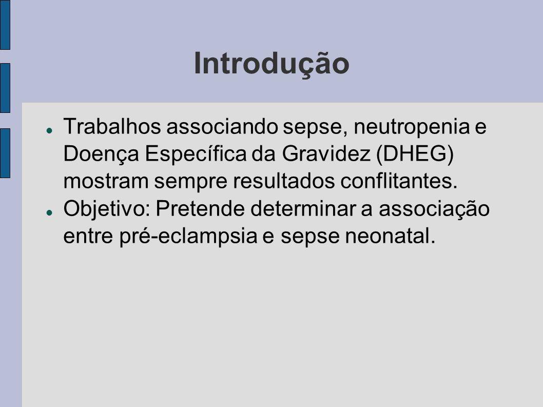 Introdução Trabalhos associando sepse, neutropenia e Doença Específica da Gravidez (DHEG) mostram sempre resultados conflitantes.