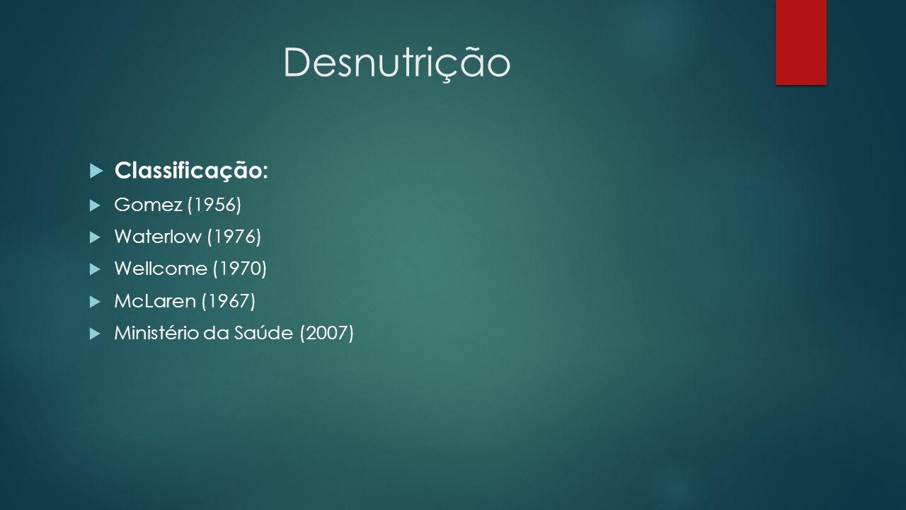 Desnutrição Classificação: Gomez (1956) Waterlow (1976)