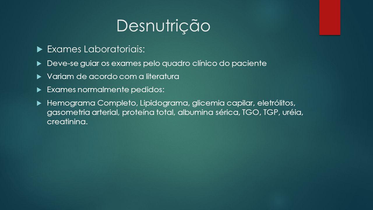 Desnutrição Exames Laboratoriais: