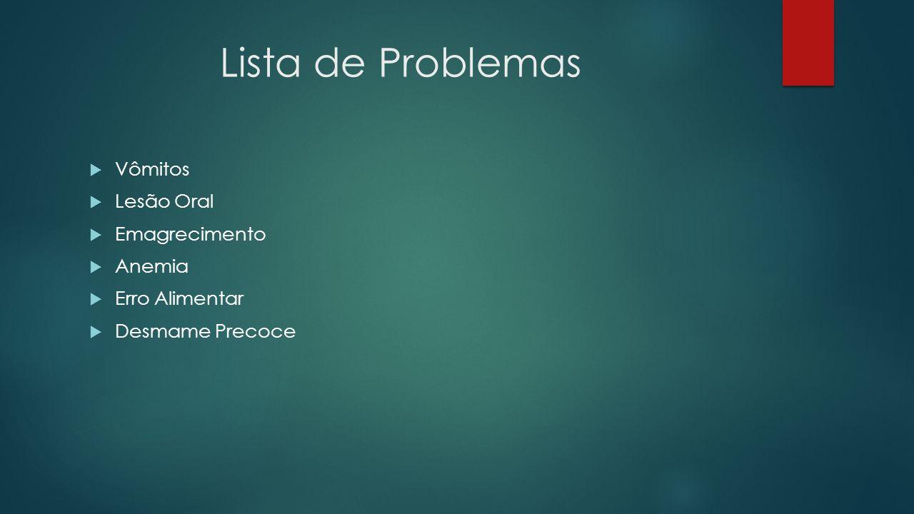 Lista de Problemas Vômitos Lesão Oral Emagrecimento Anemia