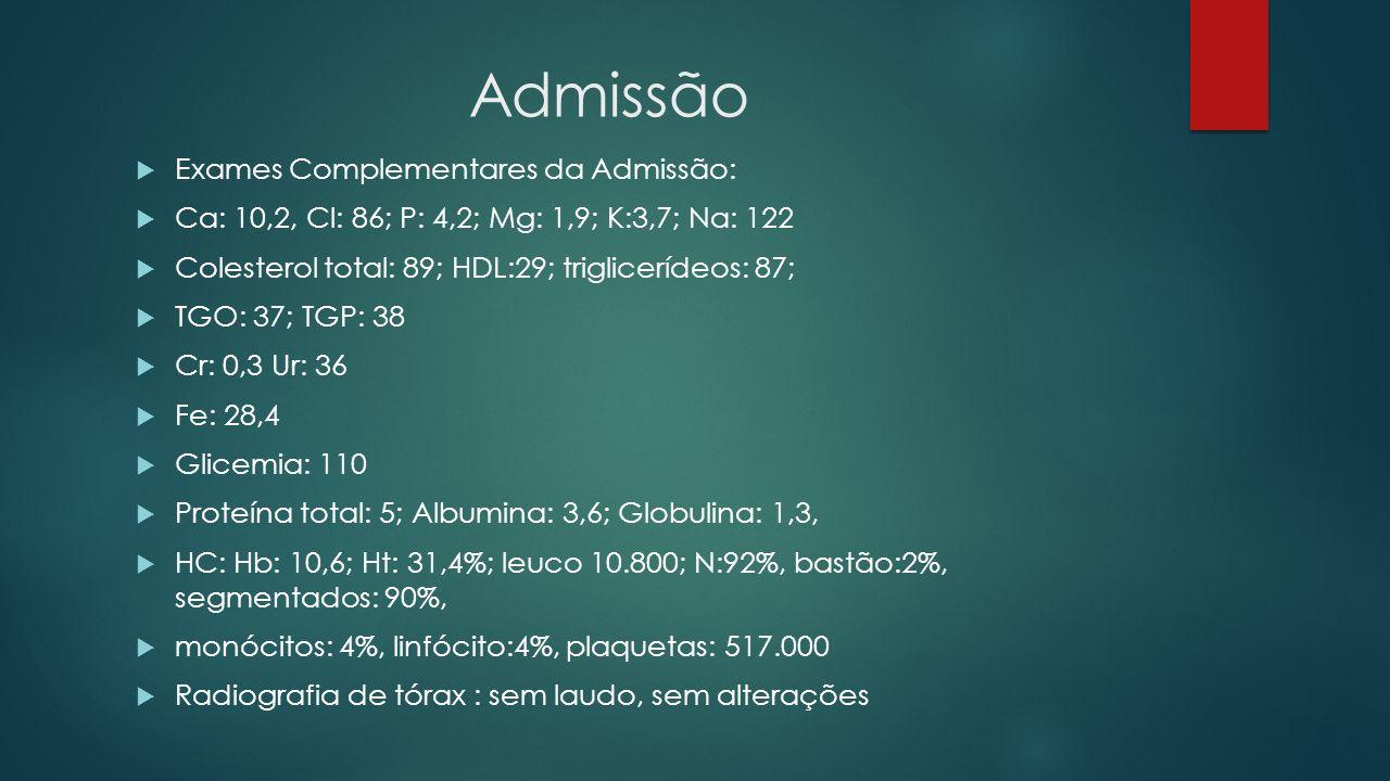Admissão Exames Complementares da Admissão: