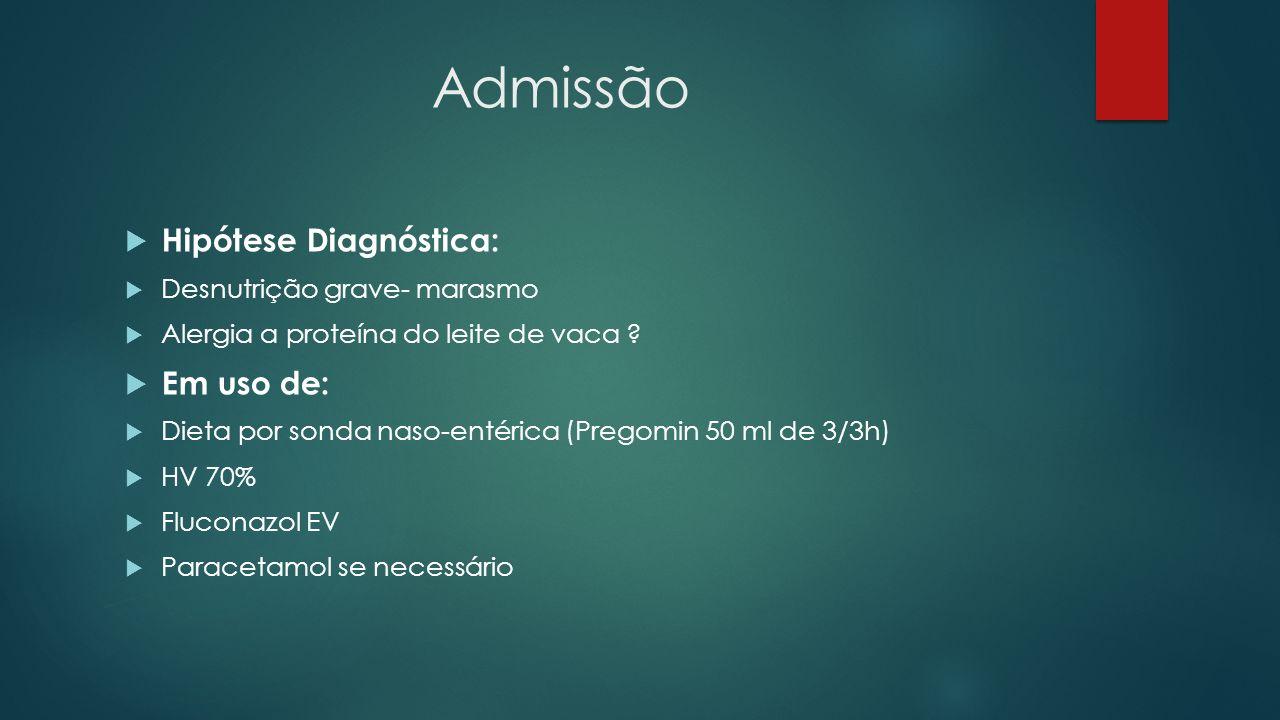 Admissão Hipótese Diagnóstica: Em uso de: Desnutrição grave- marasmo
