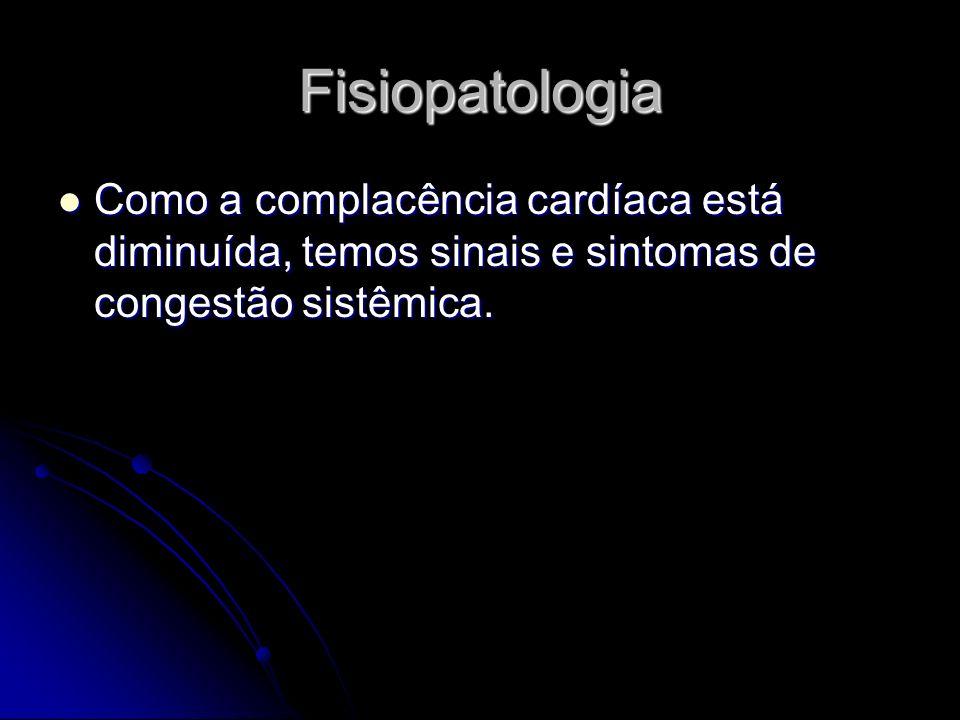 Fisiopatologia Como a complacência cardíaca está diminuída, temos sinais e sintomas de congestão sistêmica.
