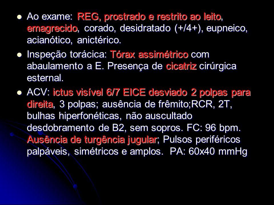 Ao exame: REG, prostrado e restrito ao leito, emagrecido, corado, desidratado (+/4+), eupneico, acianótico, anictérico.