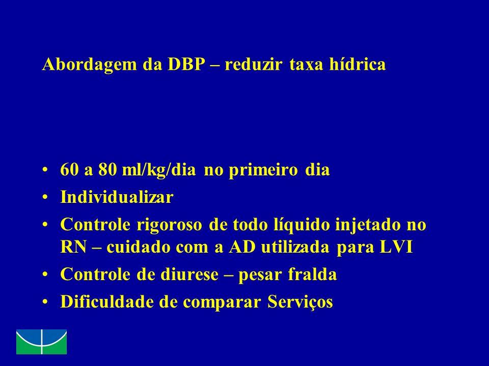 Abordagem da DBP – reduzir taxa hídrica