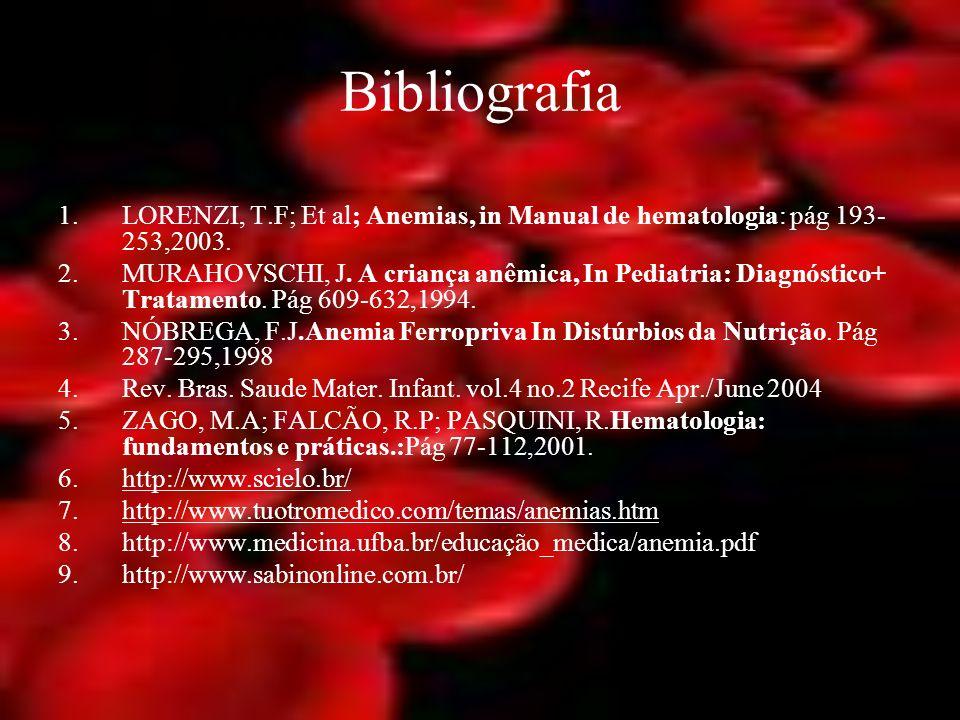 Bibliografia LORENZI, T.F; Et al; Anemias, in Manual de hematologia: pág 193-253,2003.