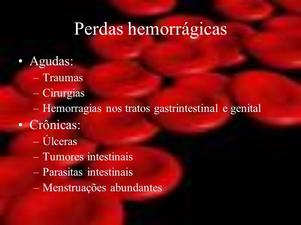Perdas hemorrágicas Agudas: Crônicas: Traumas Cirurgias
