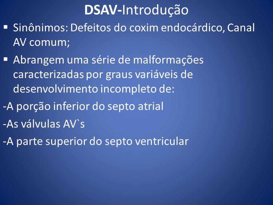 DSAV-Introdução Sinônimos: Defeitos do coxim endocárdico, Canal AV comum;