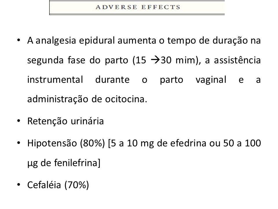 A analgesia epidural aumenta o tempo de duração na segunda fase do parto (15 30 mim), a assistência instrumental durante o parto vaginal e a administração de ocitocina.