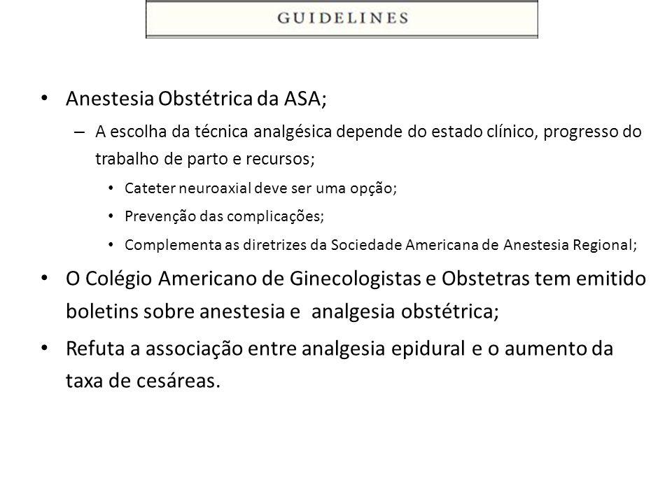 Anestesia Obstétrica da ASA;