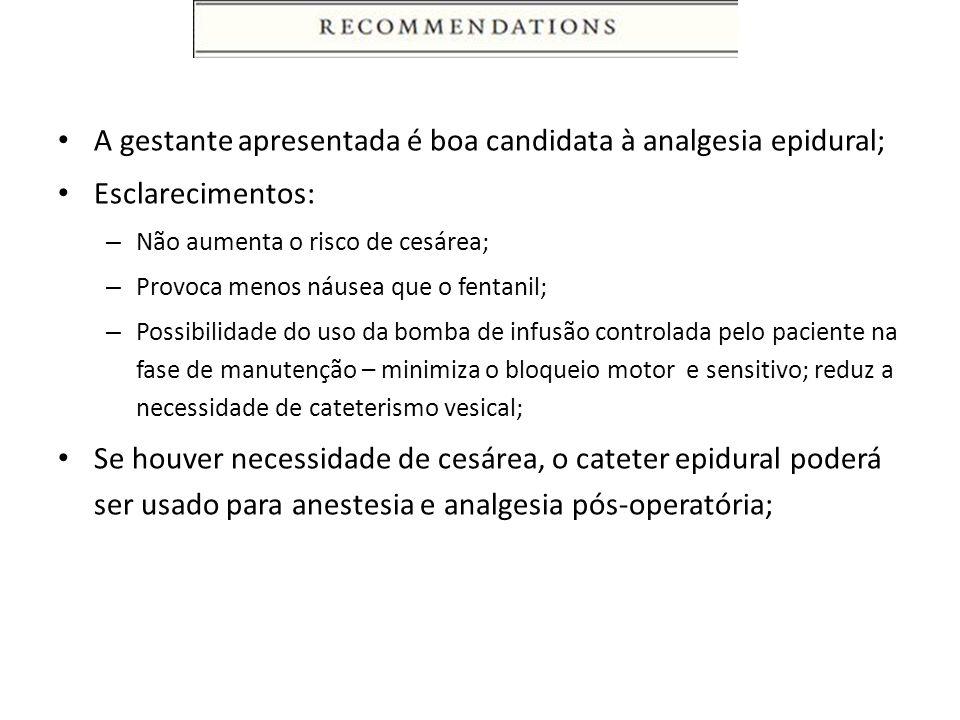 A gestante apresentada é boa candidata à analgesia epidural;