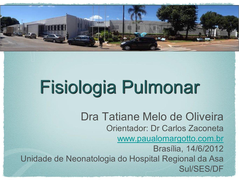 Fisiologia Pulmonar Dra Tatiane Melo de Oliveira
