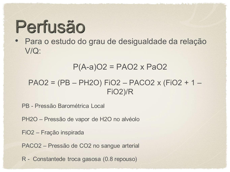 PAO2 = (PB – PH2O) FiO2 – PACO2 x (FiO2 + 1 – FiO2)/R
