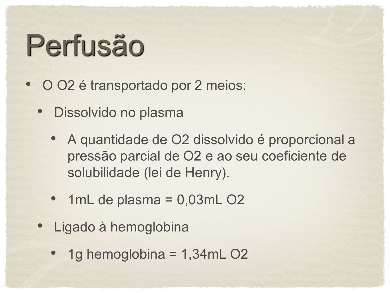 Perfusão O O2 é transportado por 2 meios: Dissolvido no plasma
