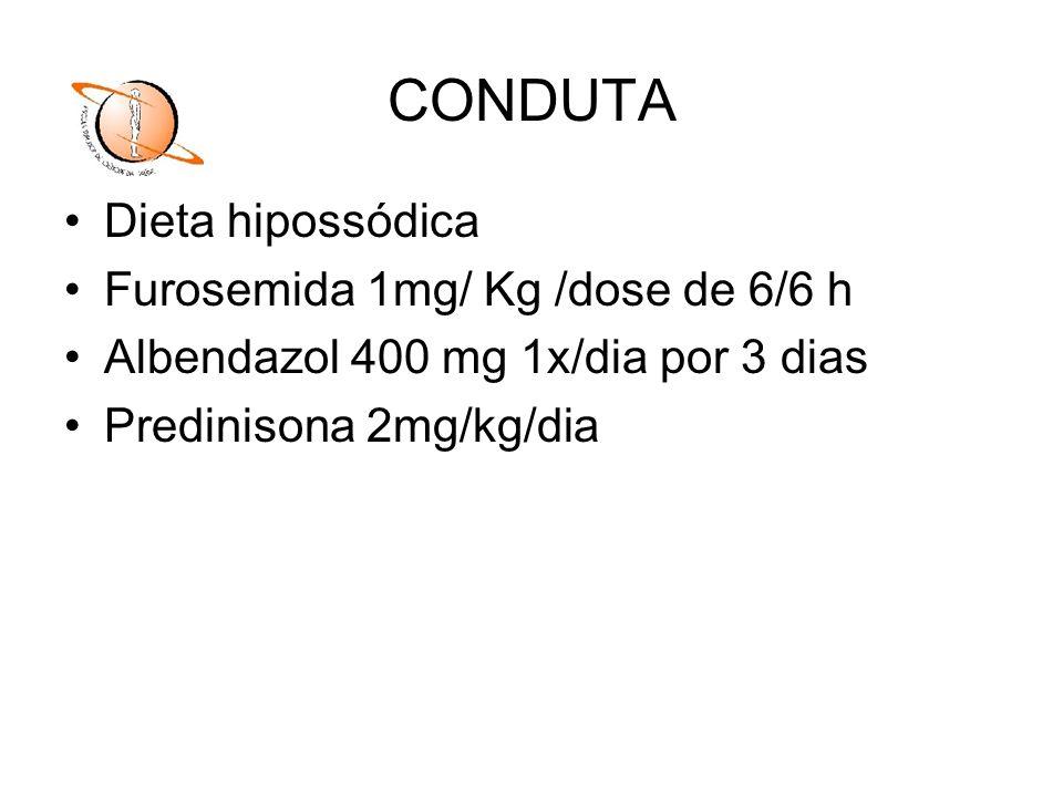 CONDUTA Dieta hipossódica Furosemida 1mg/ Kg /dose de 6/6 h