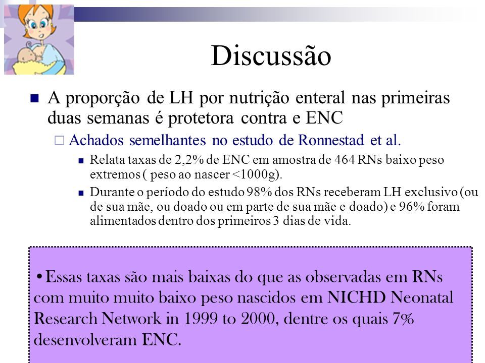 DiscussãoA proporção de LH por nutrição enteral nas primeiras duas semanas é protetora contra e ENC.